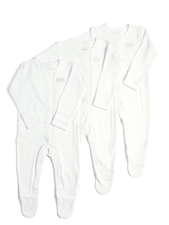 3 Pack of White Sleepsuits image number 1