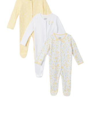 3Pack of  YELLOW FLRL Sleepsuits