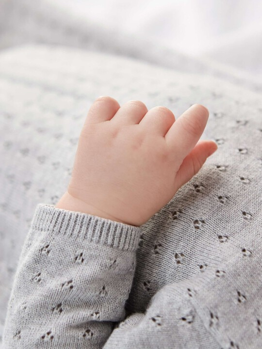 Fine Knit Romper with Pointelle Details Grey- New Born image number 4