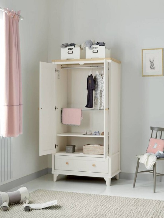 Lucca 2 Door Nursery Wardrobe with Storage Drawer - Ivory Oak image number 2