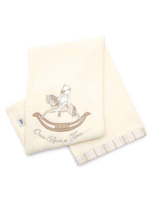 Once Upon A Time - Neutral Embroidered Fleece Blanket (L: 70 x W: 100cm) image number 1