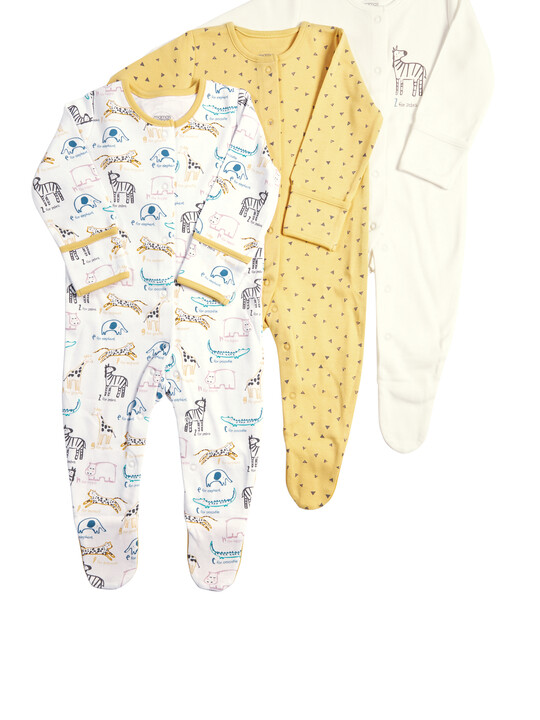 Pack of 3 Zoo Sleepsuits image number 1