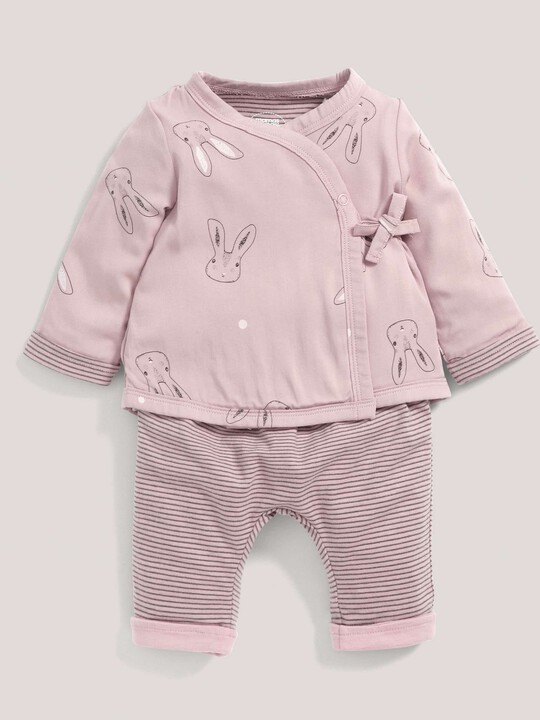 Rabbit Print Quilted Jersey Wrap Top & Trouser Set Pink- New Born image number 1