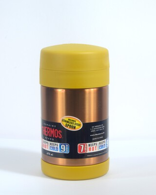 Thermos - Ss Food Jar Wide Neck With Folding Spoon 470Ml-Gold