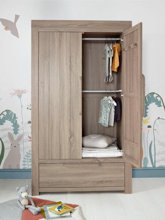 Franklin 2 Door Kids Wardrobe with Drawer - Grey Wash image number 3