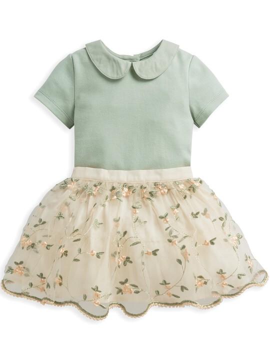 2 Piece Floral Embroidered Skirt & Blouse Set image number 1