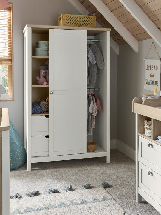 Harwell 4 Piece Cotbed with Dresser Changer, Wardrobe, and Essential Fibre Mattress Set- White image number 25