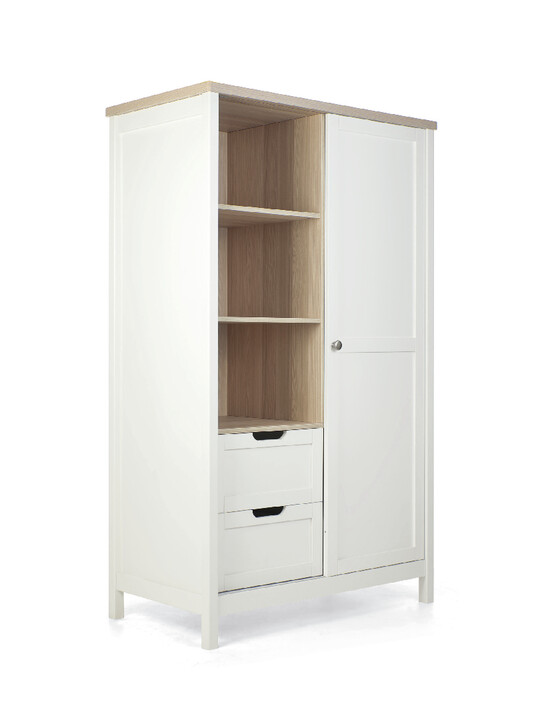 Harwell 4 Piece Cotbed with Dresser Changer, Wardrobe, and Essential Fibre Mattress Set- White image number 19