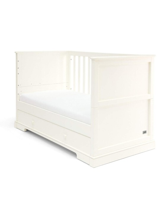 Oxford Wooden Cot & Toddler Bed with Storage - White image number 2