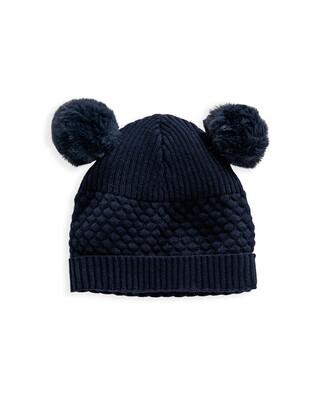 Blue Knitted Pom Pom Hat