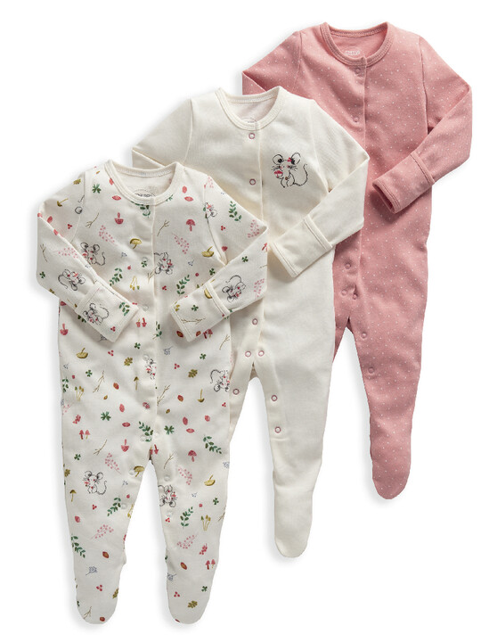Mouse Jersey Cotton Sleepsuits 3 Pack image number 1
