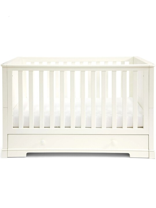 Oxford Wooden Cot & Toddler Bed with Storage - White image number 1