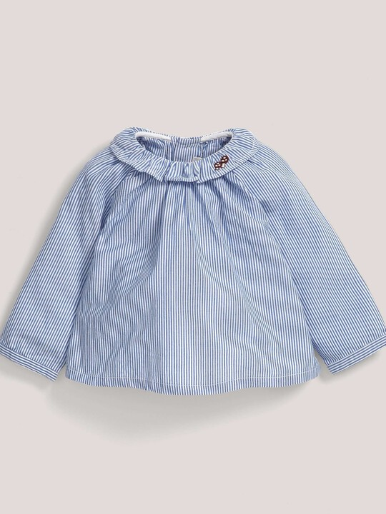 Stripe Embroidered Collar Blouse Blue- 0-3 image number 1