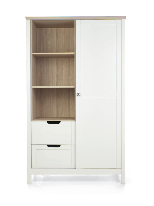 Harwell 4 Piece Cotbed with Dresser Changer, Wardrobe, and Essential Fibre Mattress Set- White image number 4