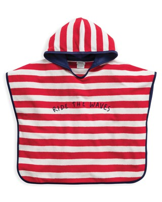 Red Striped Towel Poncho