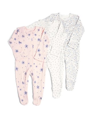 3 Pack of  Floral Sleepsuits