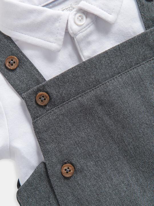 Grey Bodysuit & Dungaree 2 Piece Set image number 5