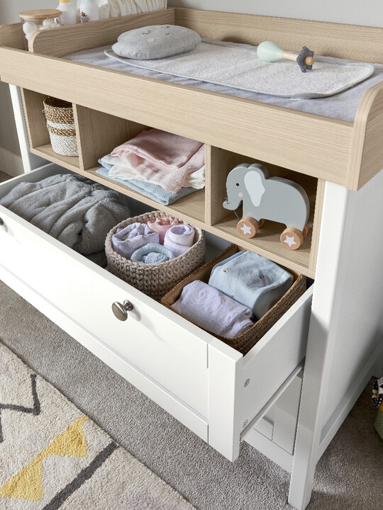 Harwell 4 Piece Cotbed with Dresser Changer, Wardrobe, and Essential Fibre Mattress Set- White image number 14