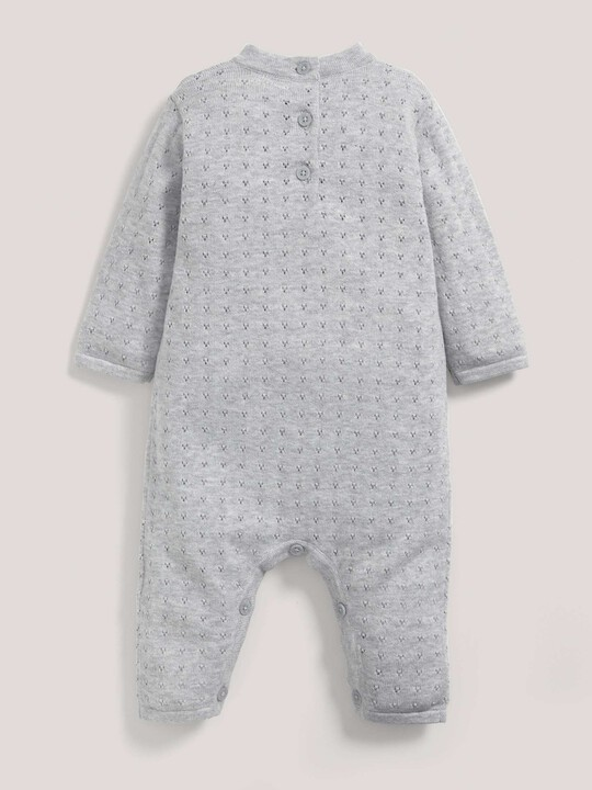 Fine Knit Romper with Pointelle Details Grey- New Born image number 2