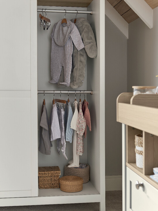 Harwell 4 Piece Cotbed with Dresser Changer, Wardrobe, and Essential Fibre Mattress Set- White image number 24