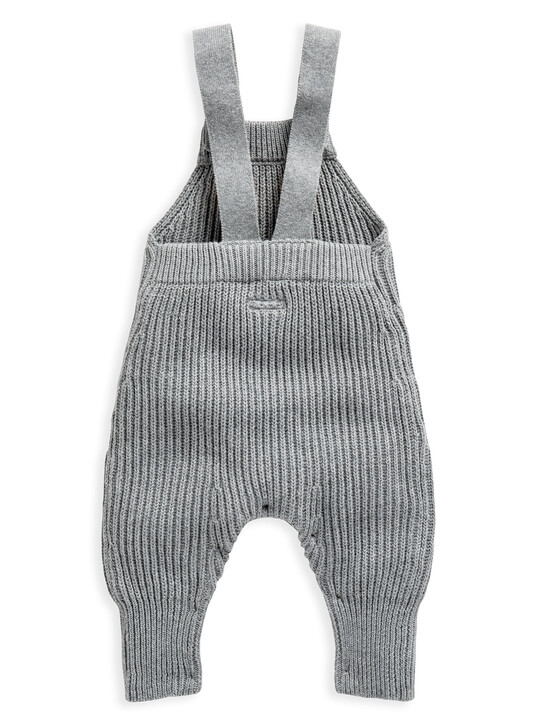 Grey Knitted Ribbed Dungaree image number 2