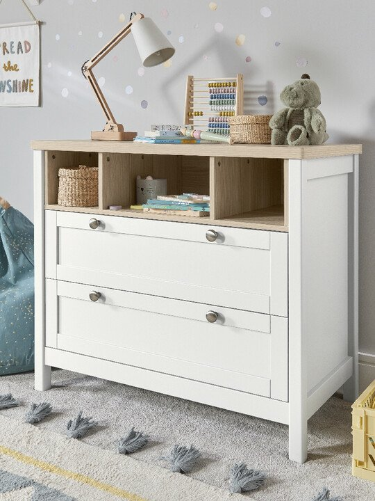 Harwell 4 Piece Cotbed with Dresser Changer, Wardrobe, and Essential Fibre Mattress Set- White image number 16